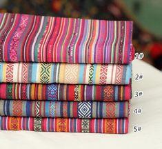 Bohemian style Rainbow Stripe Polyester cotton Fabric Upholstery fabric Home decor fabric Bag/Purse /fashion Fabric curtain fabric- 1/2 Yard
