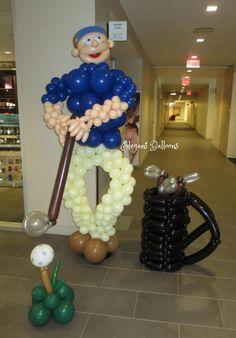 golf person sculpture balloon full size. www.elegant-balloons.com