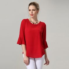 fc69757ab21 Plus Size Blouses Women Clothing Loose Chiffon Blouse Korean Fashion Blusa  Feminina Summer Tops Solid Color Black Red M -