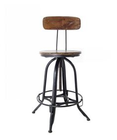 """Architect's Counter Stool with Back  Model: indJH017  Adjustable wood and metal stool with back. When seat is at its base, it measures 40"""" tall with a 26"""" seat height, with a maximum adjustable seat height of 33""""."""