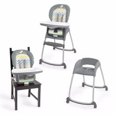 Gray High Chair Ingenuity Trio Baby Booster Seat Toddler Feeding New Infant 3in1