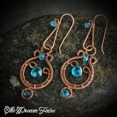 Handmade Blue Apatite Wire Wrapped Copper Earrings Beware the bewitching charm of beautiful blue apatite, fashioned here into delicate copper earrings. ABOUT APATITE In the mid-1990s, electric blue and green Paraìba tourmalines were extremely popular and very expensive. When deposits of...