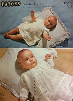Vintage Patons knitting pattern - baby dress and matinee jacket - 4 ply