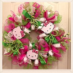 Hello Kitty Deco Mesh Wreath/Pink, Lime and White Deco Mesh Wreath by CKDazzlingDesign on Etsy https://www.etsy.com/listing/187754686/hello-kitty-deco-mesh-wreathpink-lime