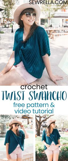 My crochet twist swancho is a great piece for beginner crocheters who are new to making garments. It's made from only two rectangles! Plus, Lion Brand's ZZ Twist yarn is what dreams are made of y'all. Click this pin for the pattern! #crochet #twistswancho #poncho #sweater #diy #freepattern #easypattern #forbeginners #beginnercrocheter #yearroundgarment #summersweater #fallsweater