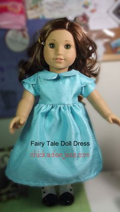 "A free pattern with similar details to the Oliver+S Fairy Tale Dress. It has petal sleeves, straight bodice, peter pan collar, full skirt and ties in the back. The best part is that this dress will fit your 15"" Bitty Baby or 18"" American Girl Doll."
