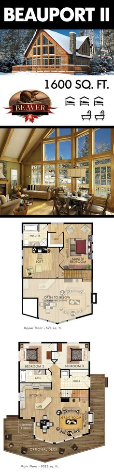 Cabin house plans - The Beauport II is perfect as a family summer home or even a winter chalet BeaverHomesandCottages Cabin House Plans, Cottage Floor Plans, Log Home Plans, Cottage House Plans, Dream House Plans, Small House Plans, House Floor Plans, Dream Houses, Dog Houses