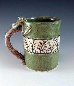Ceramic Frog Mug / Porcelain / 253 by Botanic2Ceramic on Etsy,