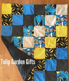 Items similar to Baby Batman Quilt Hand-Tied with Minky Underside on Etsy Batman Quilt, Superhero Quilt, Superhero Room, Batman Room, Cute Quilts, Boy Quilts, Boys Sewing Patterns, Quilt Patterns, Baby Boy Batman
