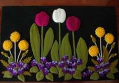 Wool applique pattern DANDY SPRINGTIME table runner topper wall hanging violets