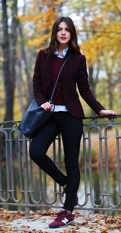 Burgundy trend, Meric Kucuk is wearing burgundy blazer from Gant, sweater from nauticaand trainers from New Balance Kleider formell The Burgundy Fashion Trend Continues In Autumn 2014 - Just The Design Fashion Mode, Tomboy Fashion, Look Fashion, Winter Fashion, Fashion Outfits, Womens Fashion, Fashion Trends, Sneakers Fashion, Sport Fashion