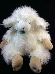 Mary Meyer Shaggy Cream Green Plaid Bow Lamb Sheep Soft Toy Plush Stuffed #MaryMeyer