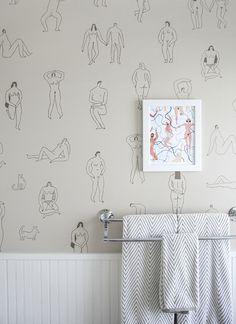 A Cheerful, Creative Home in Kansas City, MO – Design*Sponge Bathroom Wallpaper, Home Wallpaper, Wallpaper Ideas, Funky Wallpaper, Bathroom Art, Quirky Bathroom, 1920s Bathroom, Lowes Bathroom, Interior Wallpaper