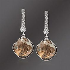"Swarovski Crystal ""Artisan"" Golden Shadow and Clear Crystal Drop Earrings"