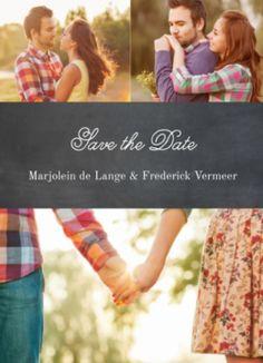Save-the-date kaart met zwarte krijtbord achtergrond en mooie foto's van jullie samen. De bijpassende trouwkaart vindt je onderin bij 'Ook verkrijgbaar'.