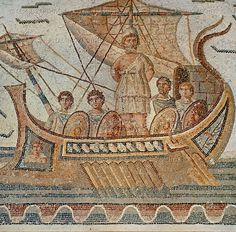 Roman Mosaic. Ulysses and the Sirens: the Greek hero Ulysses, sailing by the rock of the Sirens. He is standing on the deck with his hands tied to the mast to prevent himself from succumbing to temptation. (detail) Mosaic from the pavement of the impluvium at the house of Dionysos and Ulysses, south of the Thugga forum, Tunisia; 3rd century CE