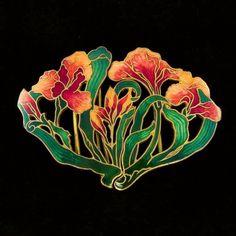 Antique Art Nouveau Guilloche Enamel Iris Belt Buckle