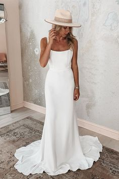 simple wedding 30 Simple Wedding Dresses For Elegant Brides simple wedding dresses sheath square neckline bohemian style alexandragrecco Backless Mermaid Wedding Dresses, Modest Wedding Dresses, Wedding Dress Styles, Boho Wedding Dress, Bridal Lace, Designer Wedding Dresses, Bridal Gowns, Wedding Bride, Wedding Dress Sheath