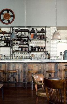 Brooklyn Bar I like the clean look of the subway tiles against which the old wood appears in front. Easy to clean metal bar top too. Chairs look comfortable, bar stools, erm, not so much. Design Café, Cafe Design, Design Ideas, Bar Designs, Café Bar, Rustic Industrial, Industrial Shelves, Rustic Wood, Industrial Design