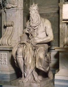 Moses - Michelangelo Buonarroti. Marble sculpture. 235 cm. 1513-1515. S. Pietro, Vincoli, Rome.
