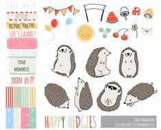 Happy Hedgies Hedgehog Clip Art Set. Cute by ChloeAndMaddison