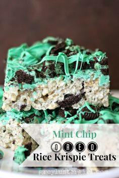 Mint Oreo rice Krispy treats.