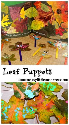 Leaf Puppets – hi bob Leaf Puppets Leaf man puppets. A simple craft inspired by the book 'Leaf Man' by Lois Ehlert. Fall/ autumn activities for toddlers and preschoolers. Forest School Activities, Fall Preschool Activities, Nursery Activities, Nature Activities, Preschool Crafts, Toddler Activities, Preschool Fall Theme, Autumn Activities For Babies, Harvest Activities