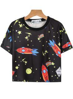 Black Short Sleeve Rocket Stars Print T-Shirt 13.33