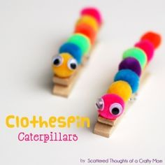 diy clothespin caterpillars A good Springtime craft Kids Crafts, Summer Crafts For Kids, Craft Activities For Kids, Spring Crafts, Toddler Crafts, Preschool Crafts, Projects For Kids, Diy For Kids, Crafts To Make