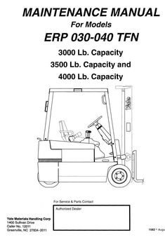Original Illustrated Factory Workshop Maintenance, Service Manual for Electric Forklift Truck.Original factory manuals for Yale Forklift Trucks, contains high quality images, circuit diagrams and instructions to help you to operate and repair your truck. All Manuals Printable and contains Searchable