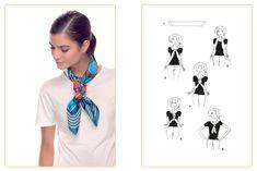 Ce nouage « Scoubidou » est réalisable avec un carré : 70x70 cm • 90x90 cm. Jouez avec votre carré Hermès avec l'application Silk Knots ! #Hermes #Silk #SilkKnots