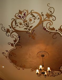 Ceiling treatment done with one of my favorite Modello® Designs stencil patterns, OrnCen162. Project by Susan Bickford of Singing Walls in Nashville.