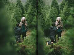 Surprise proposal at a Christmas Tree Farm - Wedding Party