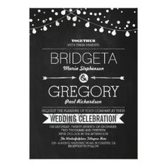 String Lights and Chalkboard Wedding Invitation - Quantity Discount Applies - 100% Satisfaction Guaranteed #rusticwedding