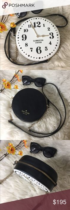 """🌸OFFERS?🌸Kate Spade All Leather Clock Crossbody 🌷Authentic🌷Excellent shape. Minimal sign of use. Features chain and leather strap, zip top to close, red kate spade interior lining and a clock detail on front. Super cute! Great for going out or when you don't need to bring much. Fits my phone, sunnies and other small valuables. Carry it by shoulder or crossbody. Don't be shy to make an offer💕 Dimensions: 6.5""""x2.5"""" ✨Feel free to bundle with other purse✨ ****accessories not included…"""
