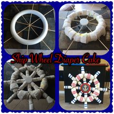 Nautical Ship Wheel Diaper Cake