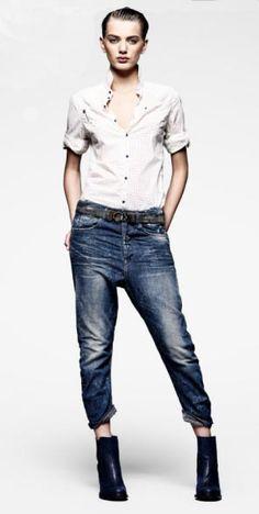 e6367d4d26b9 G-Star RAW denim and blouse Tomboy Outfits