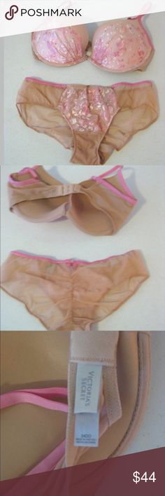 Victoria's Secret Bra & Panty Set 34DD M Victoria's Secret Bra & Panty Set 34DD M Medium Pink Beige Nude Rhinestones Embroidery New Without Tags  The bra does not say what style it is.  Comes from a smoke free home.  See my other listings for other bra and panty sets.  Bra & Panty Set Pink Beige Nude Rhinestones Embroidery Size 34DD Bra Size M Med Medium Panty Victoria's Secret Intimates & Sleepwear Bras