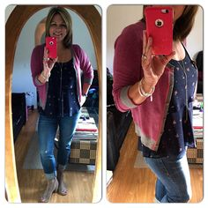 It's a season mix up day!! Brando Jeans from Fall 11 with New Tiered Cami from Spring 14 and Meg Cardigan from Fall 15....love cabi!!