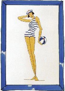 Rue du Port - Broderie à points comptés - Broderie - Femme au ballon