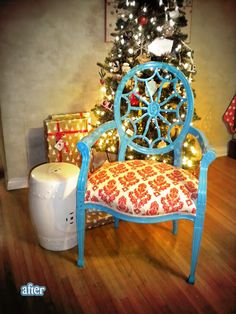 Turquoise and red reupholstered chair.... Love this but maybe white paint Nd a nice turquoise fabric for my dining facelift....#Repin By:Pinterest++ for iPad#