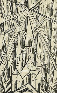 "Lyonel Feininger (Illustration), Walter Gropius (Author) / Manifesto and programme of the State Bauhaus, April 1919, with illustration ""Cathedral"" illustration by Lyonel Feininger, 1919 / Bauhaus-Archiv Berlin /  © VG Bild-Kunst (Royalties Collection Society), Bonn"