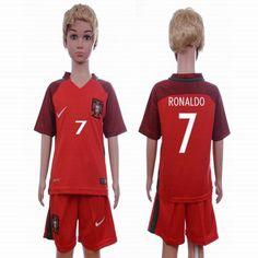 2016 Portugal team RONALDO #7 kids red soccer jersey home
