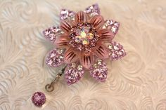 Rhinestone flower - badge holder - badge reel - id hold - retractable - name badge holder - badge clip - badge bling - nurse jewelry by DefinitelyYou on Etsy