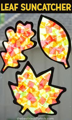 These Fall Leaf Suncatchers are so pretty to make for Fall! A perfect autumn craft for kids that you can display in your window. So many fun fall crafts for kids included in this post! #bestideasforkids #fall #autumn #kidscraft #kidsactivities