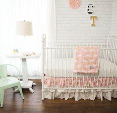 Gift Set - Newborn gifts. Custom baby bedding. Pink, princess, unicorns, ruffles, faux fur minky blanket, burp cloth set, Ruffled crib skirt by TheCozyTot