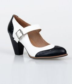 Mandy is a must have! These picturesque mary jane pumps boast a black and white two tone design dotted with wingtip perf...Price - $44.00-40ThGz9C