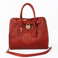 Cheap Michael Kors Hamilton Perforated Big Logo Large Red Totes Clearance