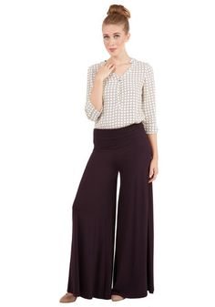 Luxuriously Laid-back Pants in Fig. Whatever the season, find a reason to don these casually cool wide-leg pants! #gold #prom #modcloth