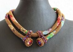 Awesome idea, beautiful bead crochet necklace